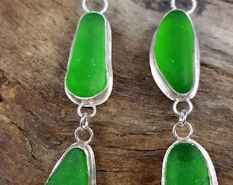 Sea Glass Jewelry Sea Glass Earrings Kelly Green Sea Glass Earrings Beach Glass Jewelry E-196