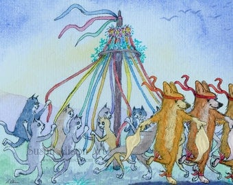 Welsh Corgi dog cats 8x10 art print from watercolor painting may day dancing around the maypole morris dancers folk festival by Susan Alison
