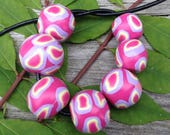 Sweet Set of Handmade Polymer Clay Beads in Soft Pink With Lavender and Pastel Yellow