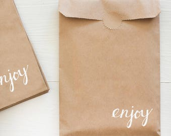 kraft paper bag with white foil for gifts and treats - enjoy