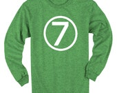 Seventh Birthday Tee Long Sleeve Heather Green Kids 7th Birthday T-Shirt