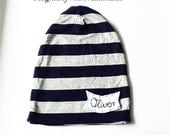 NAME SLOUCHY Jersey Knit Navy Grey Slouchy Hat with NAME applique, boys slouchy,  boys name apparel,  baby hat, toddler slouchy, slouchy hat