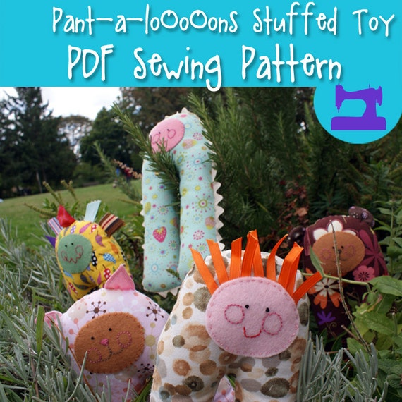 PDF SEWING PATTERN - Pant-A-LoOoOns Soft Toy Pattern - baby rattle, toddler soft toy, stuffed animal, chew toy, plushie, softie pattern,easy