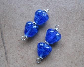 Blue Heart Beads - Lampwork Beads - SueBeads - Heart Beads - Blue Heart Bead Pair - Handmade Lampwork Beads - SRA M67
