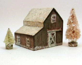 Handmade Wooden Weathered Barn Set- Original Holiday Decor- Christmas Village- Two Trees- Natural Mica Snow