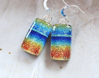 Dichroic Earrings, Petite, Fused Glass, Dangle, Sterling Silver, Rainbow, A6