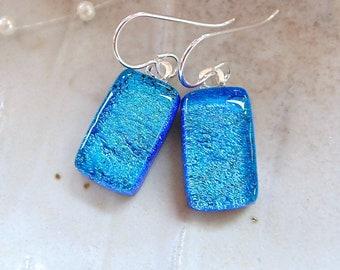 Blue Earrings, Turquoise, Petite, Dichroic Earrings, Glass Earrings, Fused Glass Jewelry, Dangle, Sterling Silver, A12