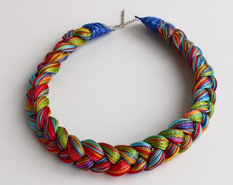 Colorful fiber necklace-handmade, ready to ship