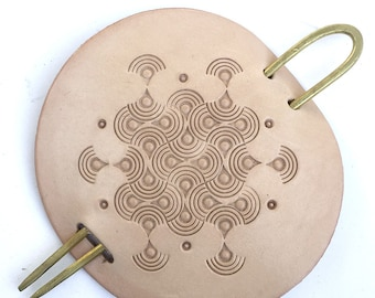 Leather and Brass Hair Pin Endless Waves Pattern