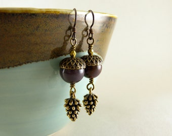 Plum Jasper Stone Acorn and Brass Pinecone Earrings with Free USA Shipping
