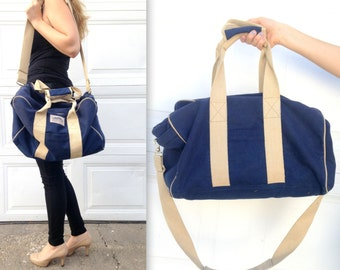 80's High Sierra Duffel Bag in Navy and Beige . Vintage Duffle Bag . Camping Road Trip Overnight . Luggage for Him .