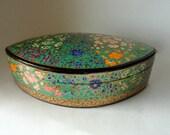 "Vintage 8 1/8"" Oval Petal Kashmir Paper Mache Lacquered Trinket Box Exotic Blossoms Bloom HandMade Painted Large Gift Treasure Valet Dresser"