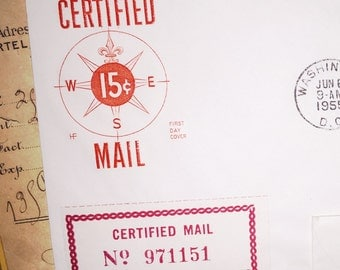 1955 Certified Mail First Day Cover Envelope