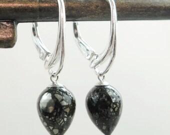 Teardrop earrings, Sterling Silver, pyrite, lever-backs, Minimal jewelry