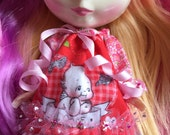 RESERVED For Marizol!!!.. ONLY!!!!.. Red Kewpie Dress, Blooms and Tights..Handmade+ Ooak!!