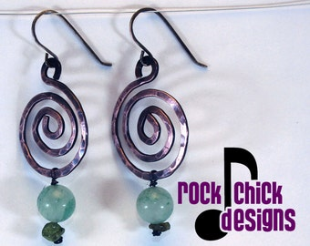 Spiral copper earrings, medium 2 inch length, with bead dangle, sterling silver ear wires -- salvaged copper electrical wire