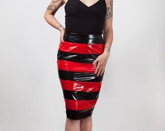 Pvc Stripe Pencil Skirt, Size 12-14, Sample Sale.