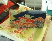 Vintage Kimono Bag - Printed Classic Japanese design on Silk - Foldover Snap