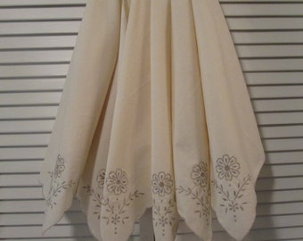 Six Vintage Embroidered Muslin Napkins - Cream and Taupe - Wedding/Shower Gift