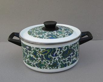 Blue Paisley 4 Quart Stock Pot with Lid Porcelain Enamel Soup Pot Gourmet Cookware El Coronado Nasco Spain Vintage Kitchenware