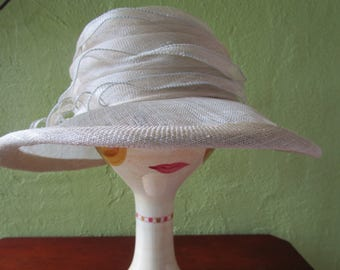 Marzi Italy Sinamay Straw Hat Pale Celery Beige Neiman Marcus Sun Derby Church Easter