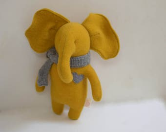 Handmade Elephant stuffed small Mustatd yellow elephant doll upcycled wool sweater eco baby gift soft plush toy elephant bubynoa Elifants
