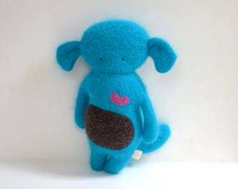 handmade dog Critter Monster doll Blue turquoise dog soft toy upcycled sweater plush toy for kids eco baby gift bubynoa critters
