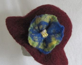 Winter Sale #Hat #Felt #  Womens Fashion #Burgundy # Handfelted Flower