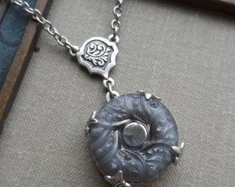 Vintage Glass Button, Necklace, Gray, Floral Design, Silver Highlights, Timeless Trinkets