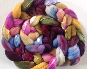 RESERVED for MADAME X Hand Dyed roving for spinning or felting 3.6ozs 19micron merino silk 50/50
