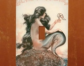 Pensive Mermaid -- Vintage Magazine Cover Light Switch Cover -- Oversized (Multiple Styles)