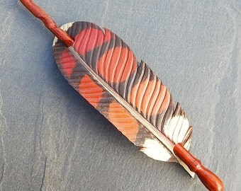 Leather Hair Stick - Red Hawk Feather with Coco Bolo Rosewood Hairstick, Hair Slide, Shawl Pin