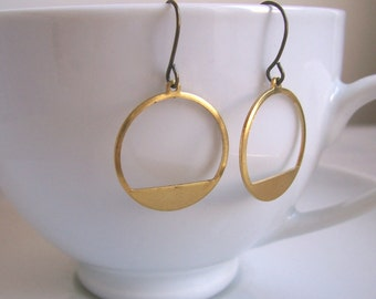 Modern Gold Hoops in raw brass - simple circles - brushed finish - minimalist jewellery - nickel free