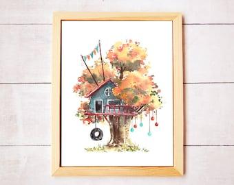 Treehouse Series 1 Watercolor Art Print - Digital Download