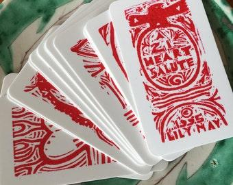 Miniature Block Prints--21 Heart Salute Card Deck