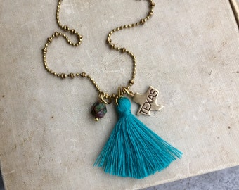 State Necklace, Long Tassel Necklace, Texas Charm