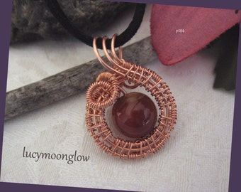 Copper Wire Weave Swirl Red Agate Gemstone Pendant Necklace Custom Length
