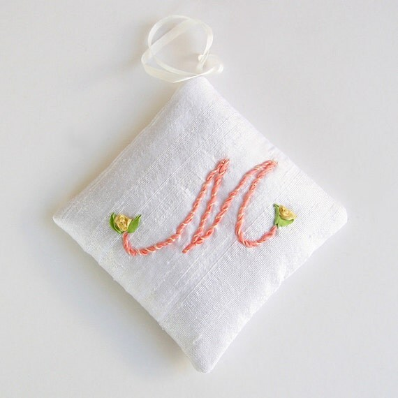 Letter M lavender sachet, personalized initial silk sachet, silk ribbon embroidered initial, aromatherapy pillow, hanging sachet