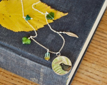Naturae. Vintage bird and fern collage on sterling necklace with leaves. Woodland themed nature jewelry