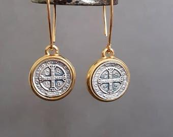 St. Benedict Earrings, Silver and Gold Earrings, Bronze Earrings, Saint Benedict, Religious Jewelry, Rocker, Cross, Gold Kidney Earring Wire