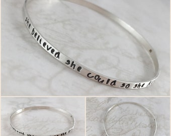 Valentine's gift, inspirational bracelet, solid sterling silver bangle bracelet, custom name, personalized bracelet, custom hand stamped