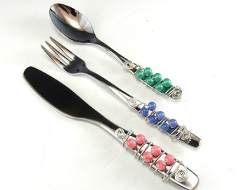 Appetizer Fork, Spoon, and Knife/Set of 3 Beaded Knife Fork and Spoon/Beaded Hors'dourve Utensils/