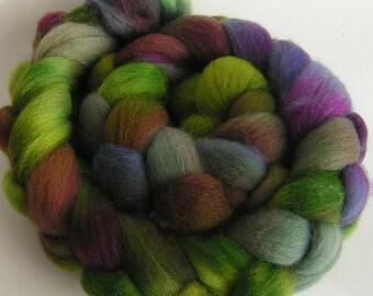 Roving Fiber Top Wool Falkland LENORA OOAK 4 oz FALKLAND Gorgeous easy Spin Felt Craft Knit Crochete Weave One of a Kind Purple Green