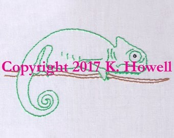 Chameleon Hand Embroidery Pattern, Lizard, Reptile, Tree, Exotic, Camouflage, Karma, Chameleon, Color, Pet, Wild, PDF