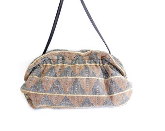80s Carpet Bag // Southwestern Brown Tapestry Style Purse // Brown Geometric Pattern Purse// Tapestry  Brown Bag //145