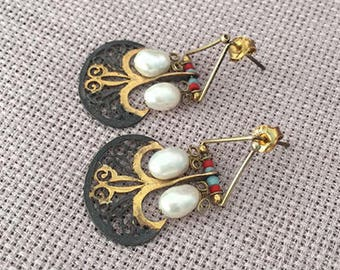 Tribal Afghan Silver earrings, Turkish jewelry, Gold plated Pearl, Coral, Turquoise earring