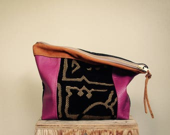 NEW//Oxford Single///Magenta Leather, Cut Velvet, and  Black Lambskin ///Fold Over Clutch///
