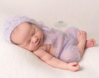 Baby Girl Romper, Lace Bonnet, Newborn Photo Props, Mohair Baby Props, Choose your color