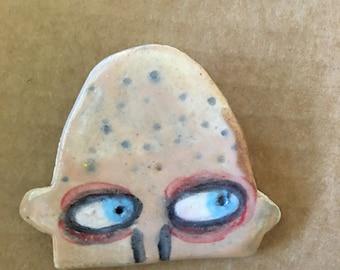 Baldy - ceramic clay coat lapel pin, quirky wearable art by Murphy Adams