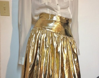 80s Gold Skirt Gold Tissue Lame Skirt Size 28 Waist * Long Gold Skirt Shiny Skirt